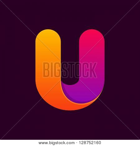U Letter One Line Colorful Logo.