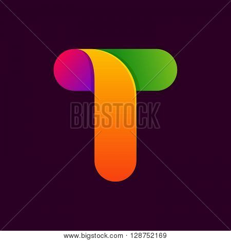 T Letter One Line Colorful Logo.