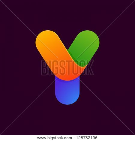 Y Letter One Line Colorful Logo.