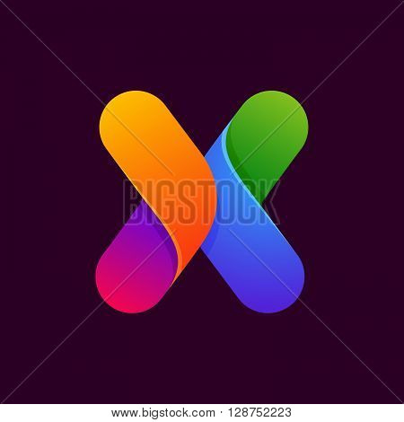 X Letter One Line Colorful Logo.