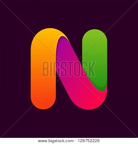 N Letter One Line Colorful Logo.