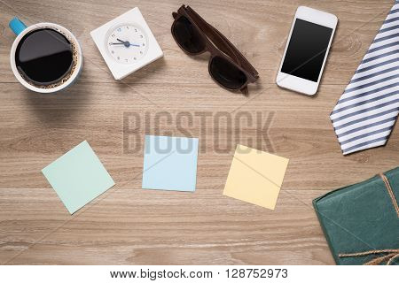 Greeting Card for Father's Day. Top view image of fathers day composition with vintage father's accessories and mobile phone