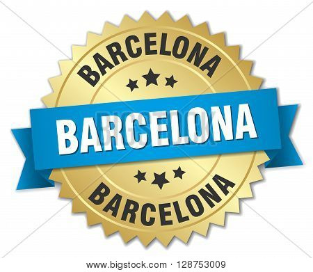 Barcelona round golden badge with blue ribbon
