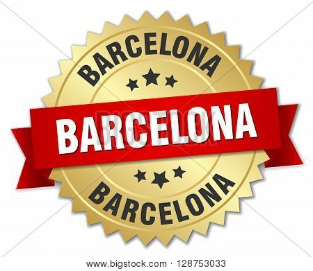 Barcelona round golden badge with red ribbon