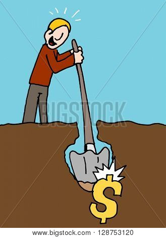 An image of a man hits pay dirt metaphor.
