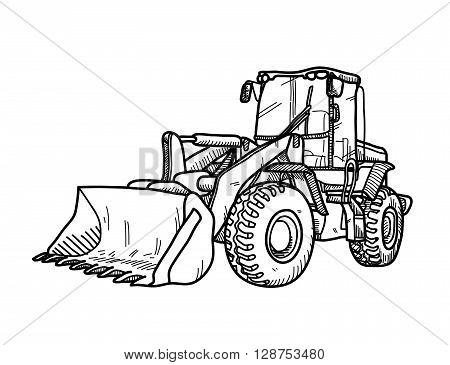 Bulldozer Doodle, a hand drawn vector doodle illustration of a bulldozer.