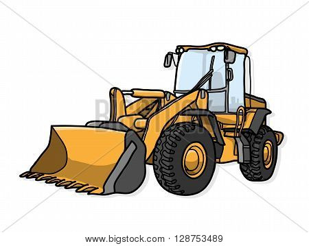Bulldozer, a hand drawn vector illustration of a bulldozer with shadow backdrop (on separate group).