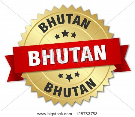 Bhutan round golden badge with red ribbon,3d