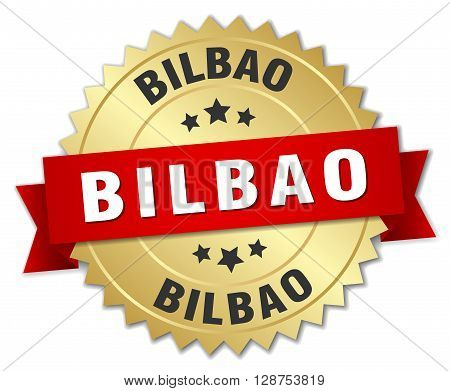 Bilbao round golden badge with red ribbon,3d