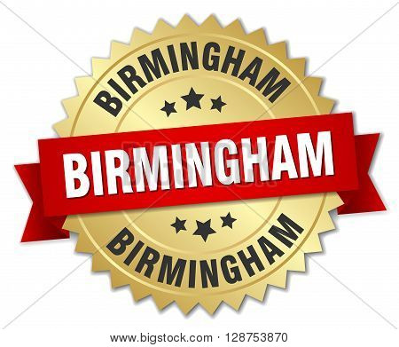 Birmingham round golden badge with red ribbon,3d