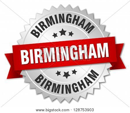 Birmingham round silver badge with red ribbon