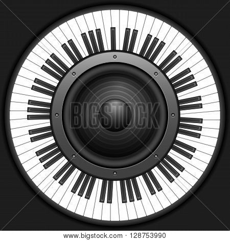 Circle piano keyboard with speaker on a black background.