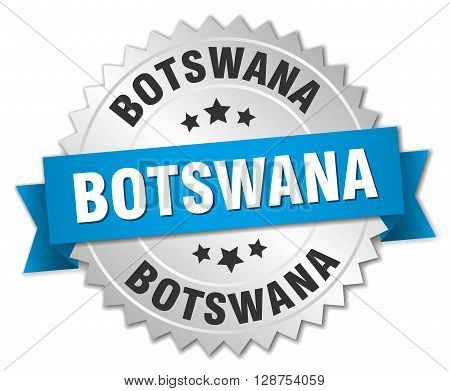 Botswana round silver badge with blue ribbon