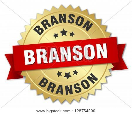 Branson round golden badge with red ribbon