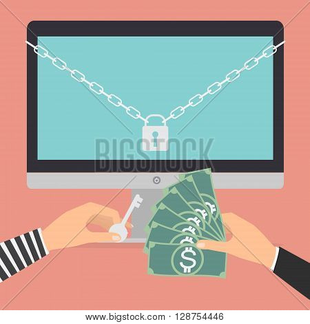 Businessman hand holding money banknote for paying the key from hacker for unlock folder got ransomware malware virus computer PC. Vector illustration technology data privacy and security concept.