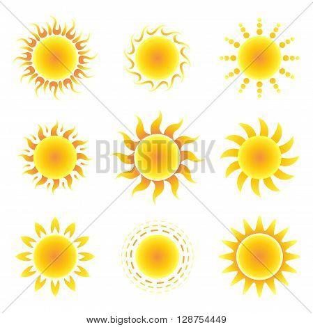Sun symbol set on a white background. Vector illustration.