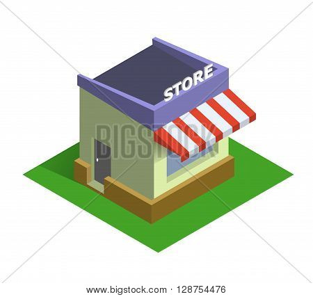 Flat isometric store logo, isolated vector icon, on line shopping and e-commerce concept web market