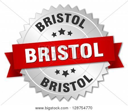 Bristol round silver badge with red ribbon