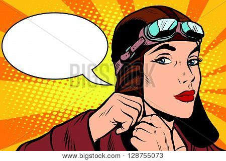 Woman retro military pilot pop art retro style. A military pilot. Retro vector aviation