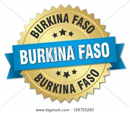 Burkina Faso round golden badge with blue ribbon