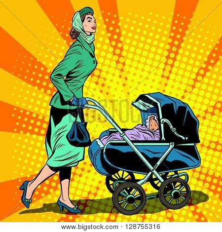 mom and stroller with baby pop art retro style. Mom walks with baby in the fresh air. Mom in the Park