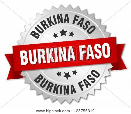 Burkina Faso round silver badge with red ribbon