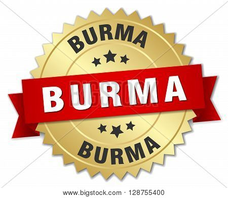 Burma round golden badge with red ribbon