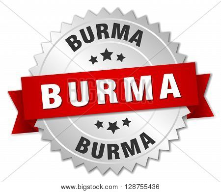 Burma round silver badge with red ribbon,3d