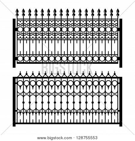 Old Style Decorative Iron Fences Set. Vector illustration