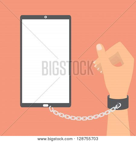 Human hand with chained with smart phone on orange background. Vector illustration technology of internet social addiction concept.