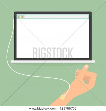 Human hand with laptop computer saline solution. Vector illustration social addiction internet online concept.