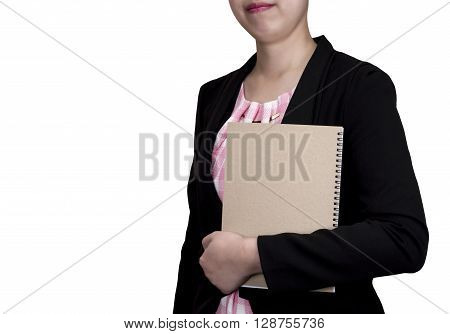 One smart business woman wear black suit and hold brown notebook in left hand stand on isolated/white background (Business concept)