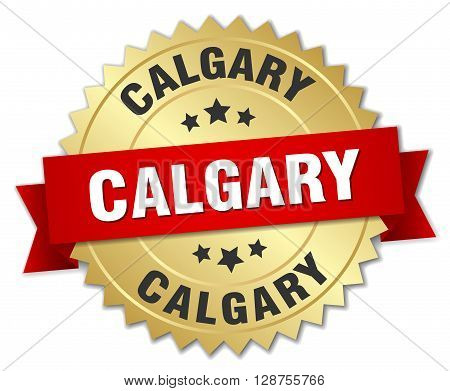 Calgary round golden badge with red ribbon,3d