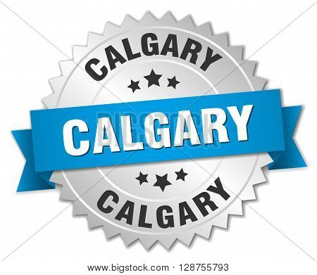 Calgary round silver badge with blue ribbon,3d