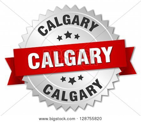 Calgary round silver badge with red ribbon