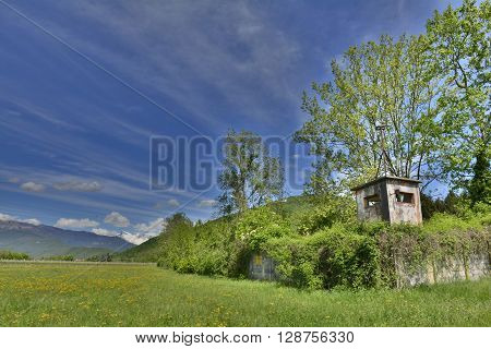 An observation tower at a now abandonded military barracks in Italy