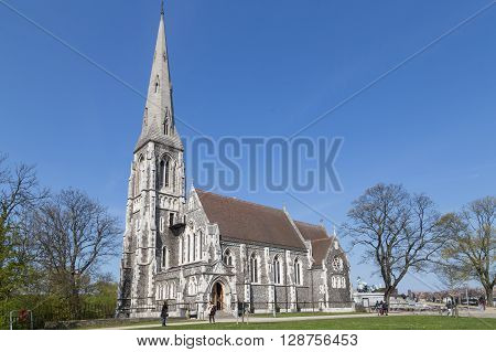 Copenhagen, Denmark - May 02, 2016: People in front of the church of St. Alban.