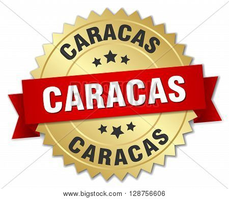 Caracas round golden badge with red ribbon