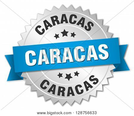 Caracas round silver badge with blue ribbon