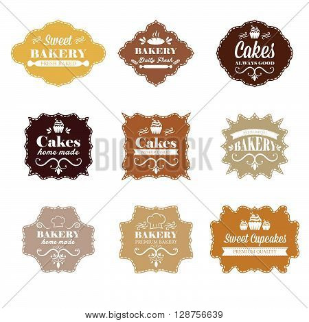 Collection of vintage retro bakery labels. vector illustration template