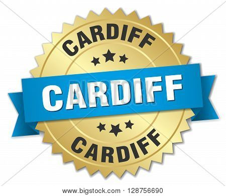 Cardiff round golden badge with blue ribbon