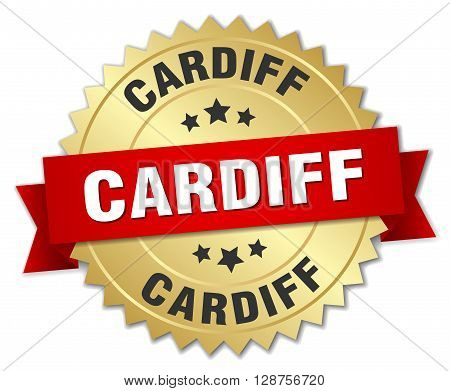 Cardiff round golden badge with red ribbon