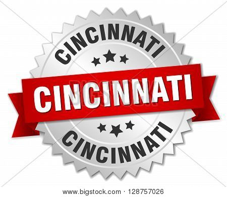 Cincinnati round silver badge with red ribbon