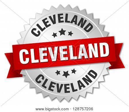 Cleveland round silver badge with red ribbon