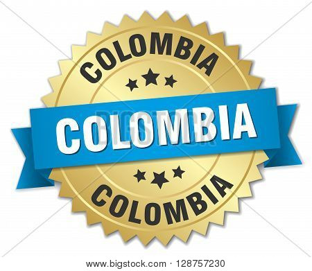 Colombia round golden badge with blue ribbon