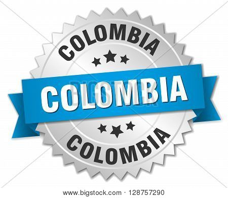 Colombia round silver badge with blue ribbon