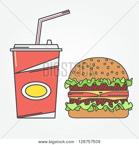 Fast Food Icon. Vector Icon Cola And Burger . For Web Design And Application Interface, Also Useful