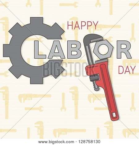 Poster banner or flyer design with stylish text 1st May concept for labours day. Labor day greeting card. Vector illustration.
