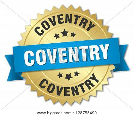 Coventry round golden badge with blue ribbon