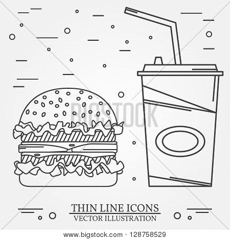 Vector Thin Line Icon Hamburger And Soda . For Web Design And Ap